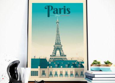 Poster - VINTAGE TRAVEL POSTER PARIS FRANCE | PARIS FRANCE - TOUR EIFFEL CITY ILLUSTRATION PRINT - OLAHOOP TRAVEL POSTERS