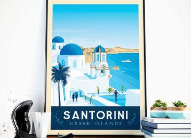 Affiches - AFFICHE VOYAGE VINTAGE SANTORIN GRECE | POSTER ILLUSTRATION VILLE SANTORIN GRECE - OLAHOOP TRAVEL POSTERS
