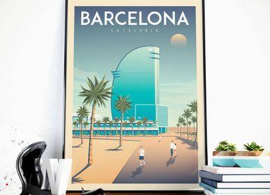 Affiches - AFFICHE VOYAGE VINTAGE BARCELONE ESPAGNE | POSTER ILLUSTRATION VILLE BARCELONE ESPAGNE - OLAHOOP TRAVEL POSTERS