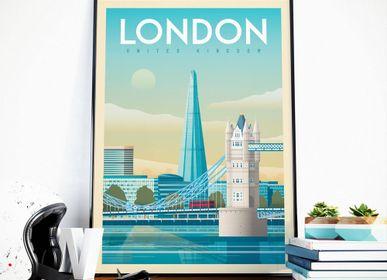 Affiches - AFFICHE VOYAGE VINTAGE LONDRES ROYAUME-UNI | POSTER ILLUSTRATION VILLE LONDRES ROYAUME-UNI - TOWER BRIDGE - OLAHOOP TRAVEL POSTERS