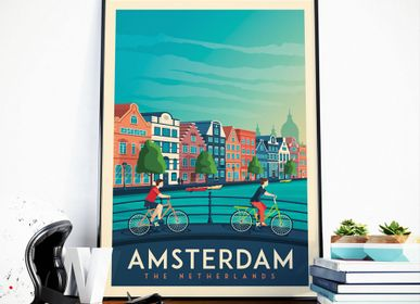 Affiches - AFFICHE VOYAGE VINTAGE AMSTERDAM PAYS-BAS | POSTER ILLUSTRATION VILLE AMSTERDAM PAYS-BAS - OLAHOOP TRAVEL POSTERS