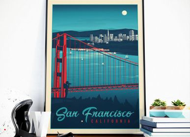 Affiches - AFFICHE VOYAGE VINTAGE SAN FRANCISCO CALIFORNIE | POSTER ILLUSTRATION VILLE SAN FRANCISCO - GOLDEN GATE BRIDGE - OLAHOOP TRAVEL POSTERS
