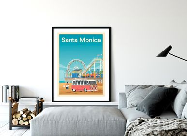 Poster - POSTER TRAVEL VINTAGE SANTA MONICA CALIFORNIA | POSTER ILLUSTRATION BEACH SANTA MONICA USA - OLAHOOP TRAVEL POSTERS