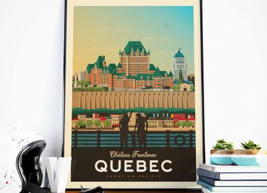 Affiches - AFFICHE VOYAGE VINTAGE QUEBEC CANADA | POSTER ILLUSTRATION VILLE QUEBEC CANADA - CHATEAU FRONTENAC - OLAHOOP TRAVEL POSTERS