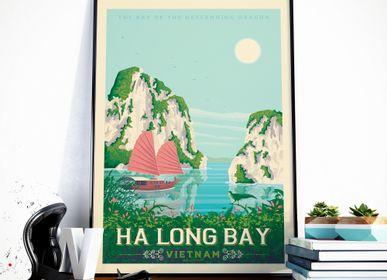 Poster - VINTAGE TRAVEL POSTER HA LONG BAY | HA LONG BAY VIETNAM ILLUSTRATION PRINT - OLAHOOP TRAVEL POSTERS