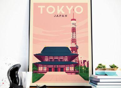 Affiches - AFFICHE VOYAGE VINTAGE TOKYO JAPON   POSTER ILLUSTRATION VILLE TOKYO JAPON - TOKYO TOWER - OLAHOOP TRAVEL POSTERS