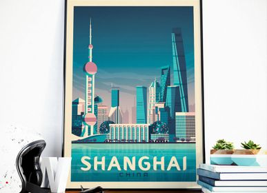 Affiches - AFFICHE VOYAGE VINTAGE SHANGHAI CHINE | POSTER ILLUSTRATION VILLE SHANGHAI CHINE - OLAHOOP TRAVEL POSTERS