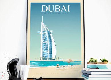 Affiches - AFFICHE VOYAGE VINTAGE DUBAI | POSTER ILLUSTRATION VILLE DUBAI - BURJ AL ARAB HOTEL - OLAHOOP TRAVEL POSTERS