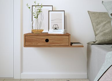 Night tables - Solid wood nightstand HOPE with a shelf on the side - WOODEK