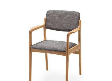 Office seating - Dining chair OSLO with armrests, solid oak - WOODEK