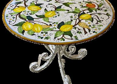 Tables de jardin - Table extérieure en grès cérame peint à la main  - CERASELLA CERAMICHE