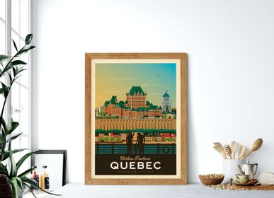 Poster - POSTER TRAVEL VINTAGE QUEBEC CANADA | POSTER ILLUSTRATION CITY QUEBEC CANADA - CHATEAU FRONTENAC - OLAHOOP TRAVEL POSTERS