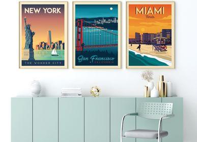 Poster - POSTER TRAVEL VINTAGE NEW YORK | POSTER ILLUSTRATION CITY NEW YORK USA - OLAHOOP TRAVEL POSTERS