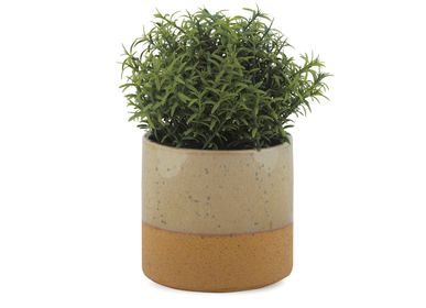 Flower pots - Beige ceramic pot Ø13.5x13 cm AX20071 - ANDREA HOUSE