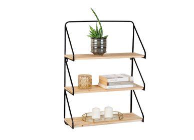 Shelves - BLACK METAL/WOOD SHELF 50X20X70 MU71068 - ANDREA HOUSE