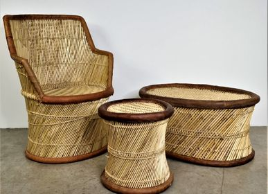 Decorative objects - Wicker armchair, leather edge. - JD PRODUCTION - JD CO MARINE