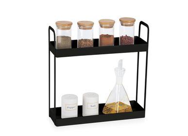 Food storage - BLACK METAL STORAGE RACK 30,5X10X30 CC71123 - ANDREA HOUSE