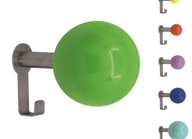 """Wardrobe - Wall hook """"Lux 1"""" in stainless steel with wooden ball 20 to 48mm - A LA CARTE DESIGN"""