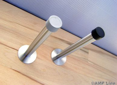 """Customizable objects - Wall doorstop  """"Arnold"""" in stainless steel, 5 lengths, rubber in black or gray - A LA CARTE DESIGN"""