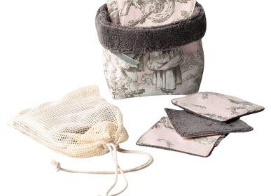 Cadeaux - Panier avec 5 lingettes lavables - ATELIER CATHERINE MASSON