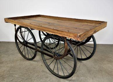 Objets de décoration - Chariot étal de présentation en teck 4 roues - JD PRODUCTION - JD CO MARINE