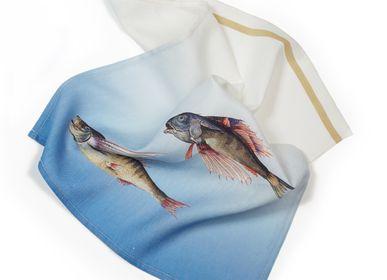 Kitchen linens - Fish Tea Towel linen - HELLEN VAN BERKEL HEARTMADE PRINTS