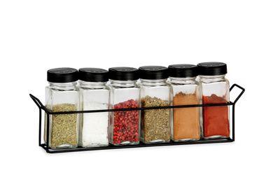 Food storage - METAL SPICE RACK W/6 GLASS JARS 32X5,5X11 CM CC71036 - ANDREA HOUSE