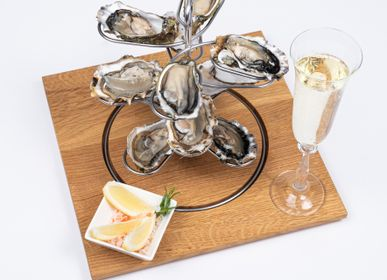 """Formal plates - Wooden tray insert """"Oysters & Sea Fruits Rack"""" for """"a la carte"""" design barbecue table - A LA CARTE DESIGN"""