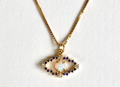 Jewelry - Eye necklace, gilded in fine gold with small colored stones.  - NAO JEWELS