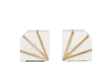 Decorative objects - S/2 SALLY MARBLE BOOKEND 10X5X10,5 CM AX71045 - ANDREA HOUSE