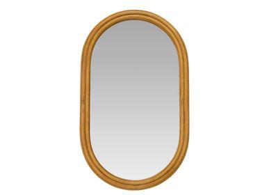 Mirrors - MALI RATTAN/MDF WALL MIRROR 53X2,5X88 CM AX71041 - ANDREA HOUSE