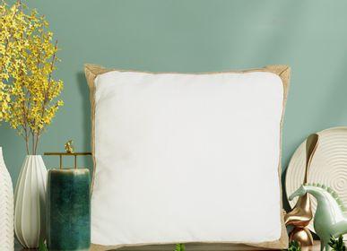 Fabric cushions - WHITE JUTE CUSHION  - PETIT ALO