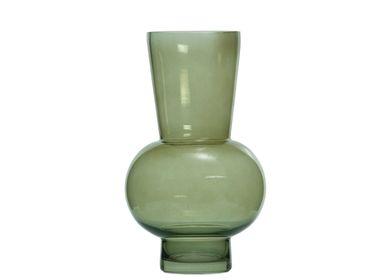 Vases - Piero Green Glass Vase Ø18x30.5 cm CR71106 - ANDREA HOUSE