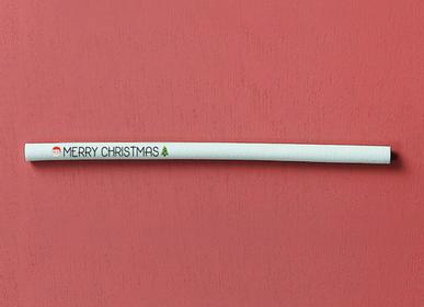 """Épicerie fine - Pailles comestibles, compostables et biodégradables sérigraphiées """"Merry Christmas"""" - SWITCH EAT"""