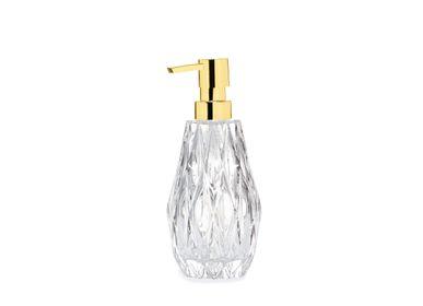 Accessoires à poser - losange. Distributeur de savon en verre et or Ø8x20 cm BA71074 - ANDREA HOUSE