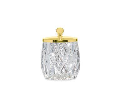 Accessoires à poser - Boîte en verre losange et coton doré Ø9,5x14 cm BA71076 - ANDREA HOUSE