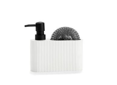 Kitchen utensils - WHITE /BLACK POLYRESIN SOAP DISPENSER WITH SCRUBBER CC71086  - ANDREA HOUSE