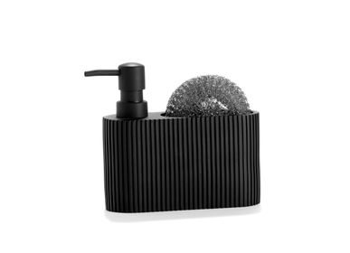 Kitchen utensils - BLACK POLYRESIN SOAP DISPENSER WITH SCRUBBER 16.5X5.5X15 CC71087  - ANDREA HOUSE