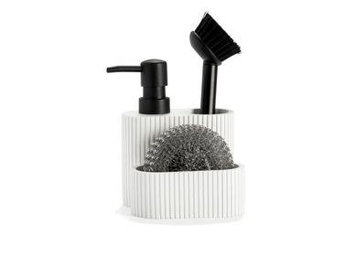 Kitchen utensils - White Stripes 3 in 1 polyresin soap dispenser 11.5x11x19 cm CC71088 - ANDREA HOUSE