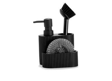 Kitchen utensils - 3-IN-1 BLACK POLYRESIN SOAP DISPENSER 11.5X11X19 CC71089 - ANDREA HOUSE