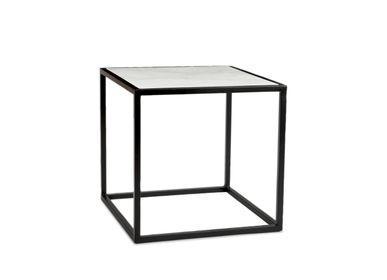 Tables basses - Table d'appoint en marbre blanc et métal 41.5x41.5x40 cm MU71009 - ANDREA HOUSE
