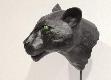 Pièces uniques - Panthère noire en Raku - ANNE DE SAUVEBOEUF CERAMISTE