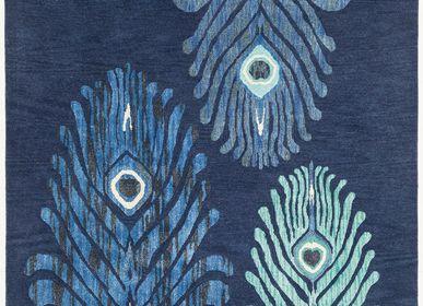 Tapis contemporains - Majestic Trinity Blue, luxueux tapis touffeté à la main - OBEETEE