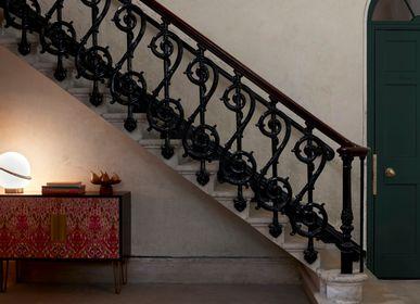 Tapis contemporains - Iris Ikat Pink, luxueux tapis touffeté à la main - OBEETEE