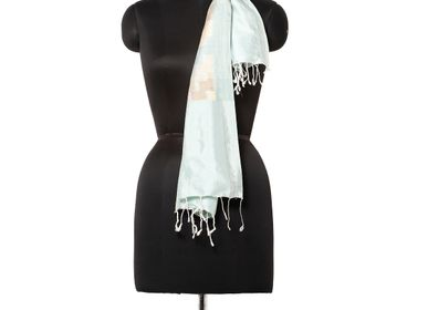 Scarves - Stepping Cool Mint Stole - AADYAM HANDWOVEN