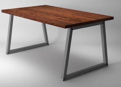 Tables Salle à Manger - Table de salle à manger avec pieds tubulaires carrés type O trapèze  - LIVING MEDITERANEO