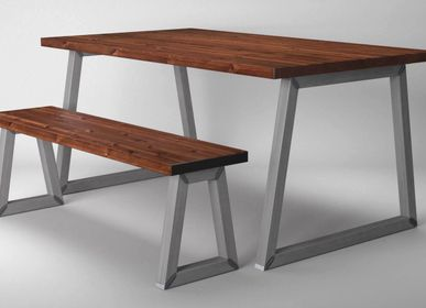 Dining Tables - Dining Table with Square Tubular Legs Type O trapezium  - LIVING MEDITERANEO