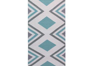 Rugs - Diamond Handwoven Interlocking Tapestry Cotton Rug - OCK POP TOK