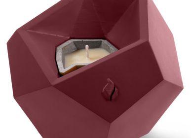 Décorations pour tables de Noël - Bougie Lizzio Square Geometric XL Maroon - YOUARTGIFT SP Z O.O.