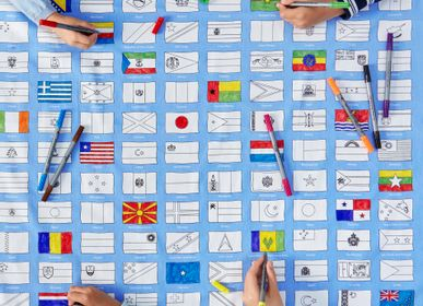 Table linen - world flags tablecloth - EATSLEEPDOODLE